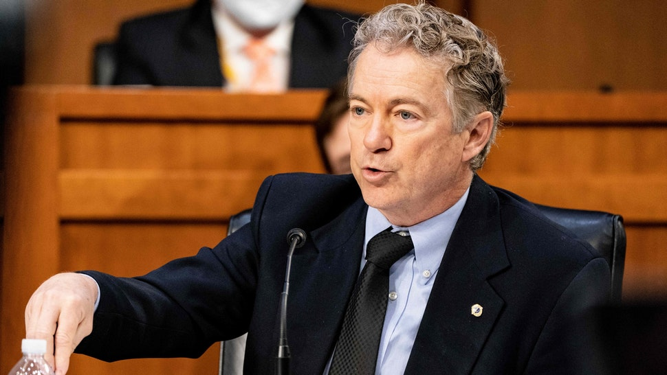 Senator Rand Paul, a Republican from Kentucky, speaks during a Senate Health, Education, Labor, and Pensions Committee hearing in Washington, D.C., U.S., on Thursday, March 18, 2021. Dangerous coronavirus variants continue to threaten progress the U.S. has made in reducing Covid-19 cases and immunizing the population, according to the nation's top infectious disease doctor.