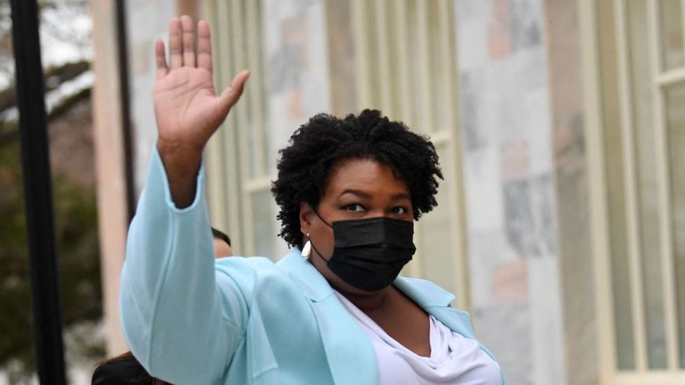 US politician and voting rights activist Stacey Abrams arrives to meet with US President Joe Biden at Emory University in Atlanta, Georgia on March 19, 2021.