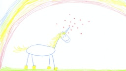 Child's drawing of unicorn on paper