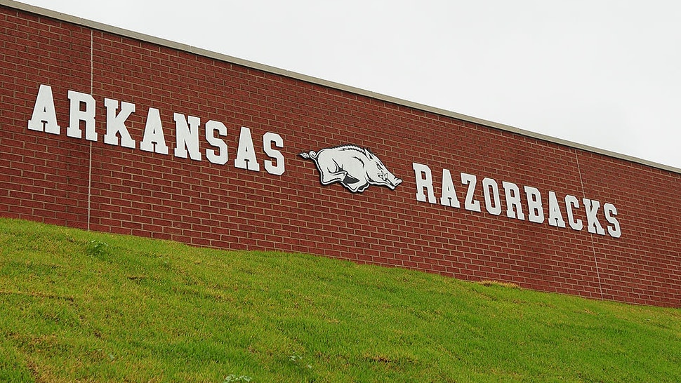 FAYETTEVILLE, AR - SEPTEMBER 15: A general view of an Arkansas Razorbacks sign on campus of the University of Arkansas on September 15, 2012 in Fayetteville, Arkansas.
