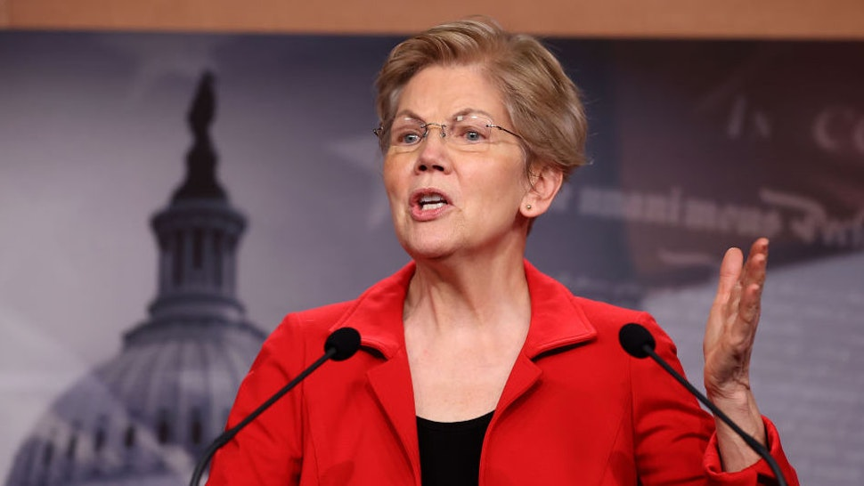 WASHINGTON, DC - MARCH 01: Sen. Elizabeth Warren (D-MA) holds a news conference to announce legislation that would tax the net worth of America's wealthiest individuals at the U.S. Capitol on March 01, 2021 in Washington, DC. Citing growing inequalities during the coronavirus pandemic, Warren, Rep. Pramila Jayapal (D-WA) and Rep. Brendan Boyle (D-PA) introduced the bill that would apply a two-percent tax on people worth more than $50 million and an additional one-percent surcharge for net worth above $1 billion.