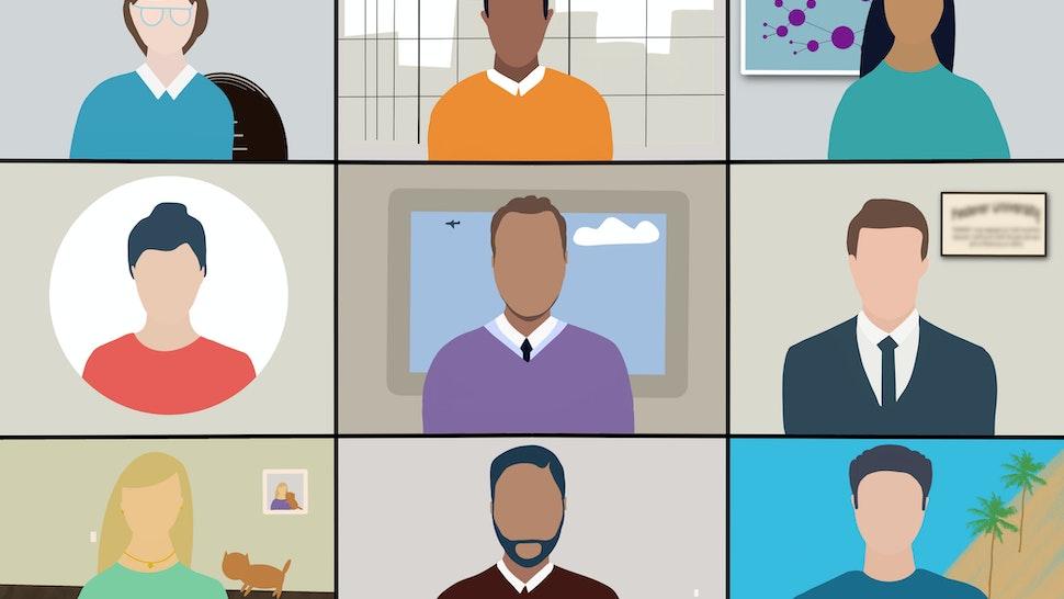 Modern day teleconfrence view illustration