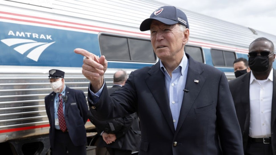 ALLIANCE, OHIO - SEPTEMBER 30: Democratic U.S. presidential nominee Joe Biden gestures during a campaign stop at Alliance Amtrak Station September 30, 2020 in Alliance, Ohio. Former Vice President Biden continues to campaign for the upcoming presidential election today on a day-long train tour with stops in Ohio and Pennsylvania. (Photo by