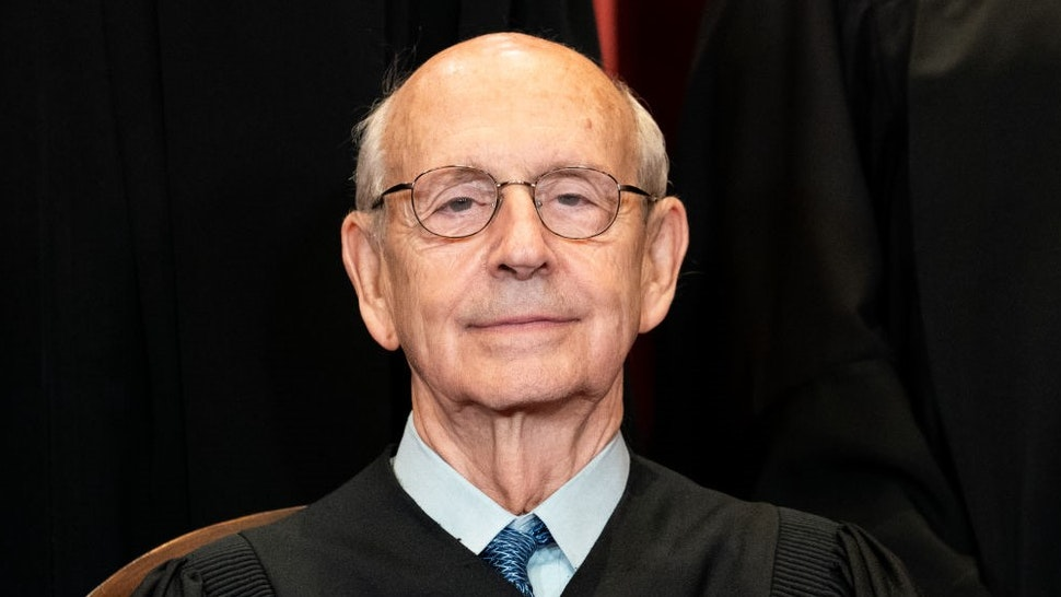 Stephen Breyer, associate justice of the U.S. Supreme Court, during the formal group photograph at the Supreme Court in Washington, D.C., U.S., on Friday, April 23, 2021. Amy Coney Barrett's confirmation by the Senate last year was a touchstone accomplishment for Donald Trump and congressional Republicans that solidified a 6-3 conservative majority on the court just eight days before the U.S. held its presidential election. Photographer:
