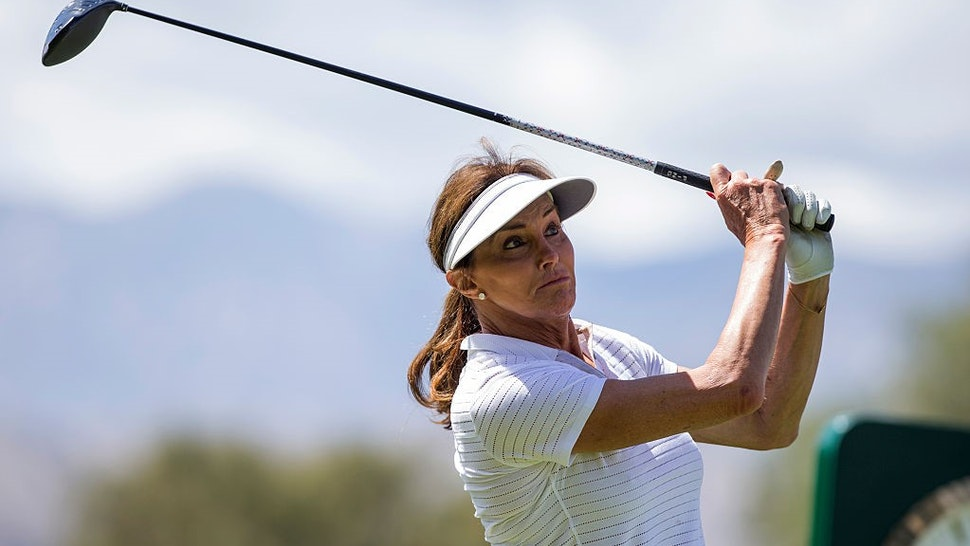RANCHO MIRAGE, CA - MARCH 30: Caitlyn Jenner tees off of the 18th hole during the LPGA's ANA Inspiration Pro-Am at Mission Hills Country Club on March 30, 2016 in Rancho Mirage, California. (Photo by