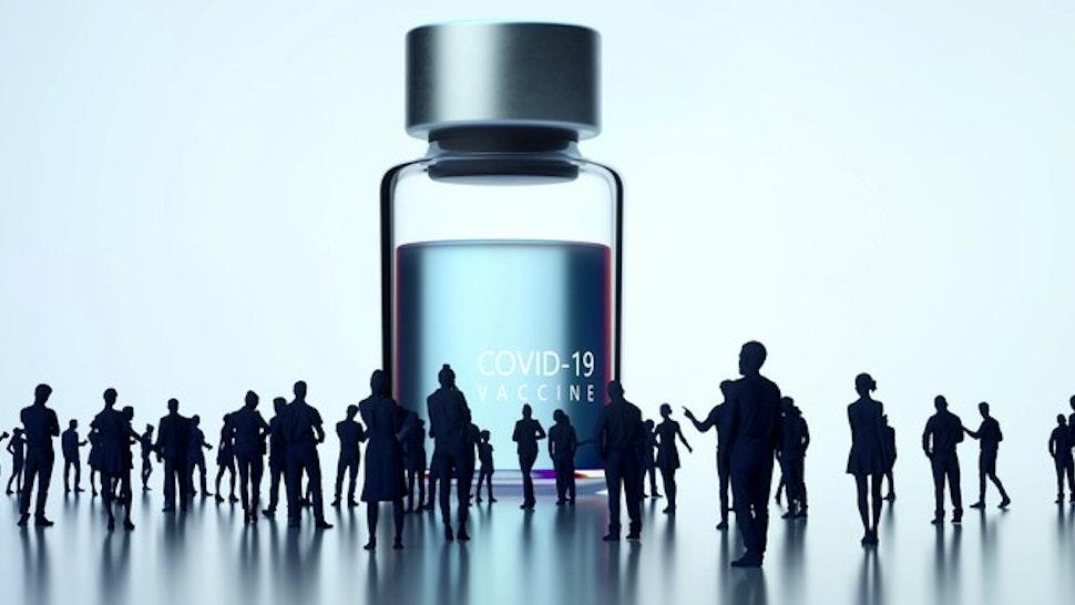 Huge Covid-19 vaccine bottle appearance.