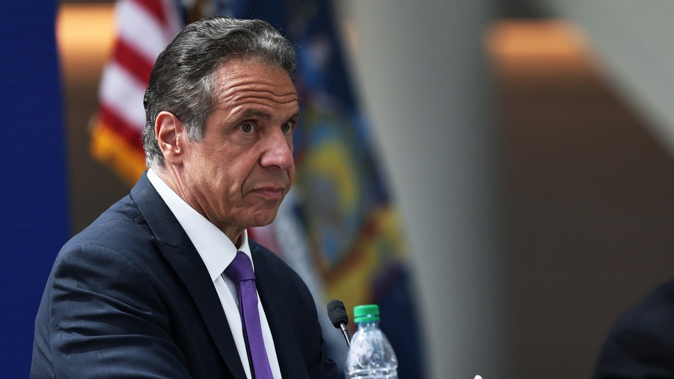 """NEW YORK, NEW YORK - MAY 11: Gov. Andrew Cuomo takes questions from reproters during a press conference at the Javits Center in Manhattan on May 11, 2021 in New York City. Gov. Cuomo held the press conference to give an update on coronavirus (COVID-19) efforts and to announce the expansion of the Javits Center as well as various projects in what he called the """"Reimagine, Rebuild, Renew"""" campaign to support the reopening and recovery of New York State due to the impact of the pandemic. (Photo by"""
