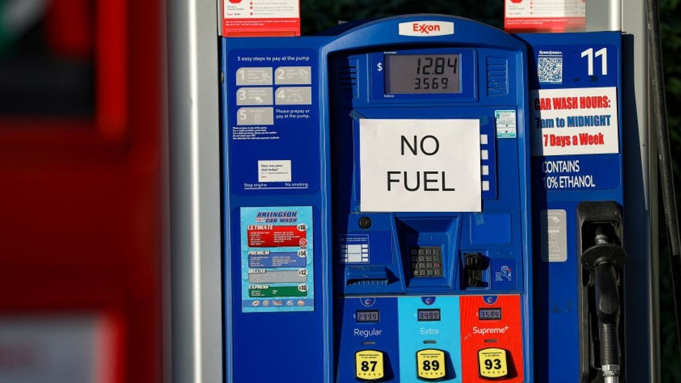 """WASHINGTON, USA - MAY 12: A sign reads """"No Fuel"""" is seen after ransomware cyberattack causes Colonial Pipeline to shut down, resulting in shortages in Washington D.C, United States on May 12, 2021. (Photo by"""