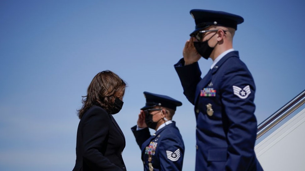 JOINT BASE ANDREWS, MD - MARCH 26: U.S. Vice President Kamala Harris boards Air Force Two at Joint Base Andrews on March 26, 2021 in Joint Base Andrews, Maryland. Harris is traveling to New Haven, Connecticut to promote the Biden administration's recently passed $1.9 billion federal stimulus package. (Photo by