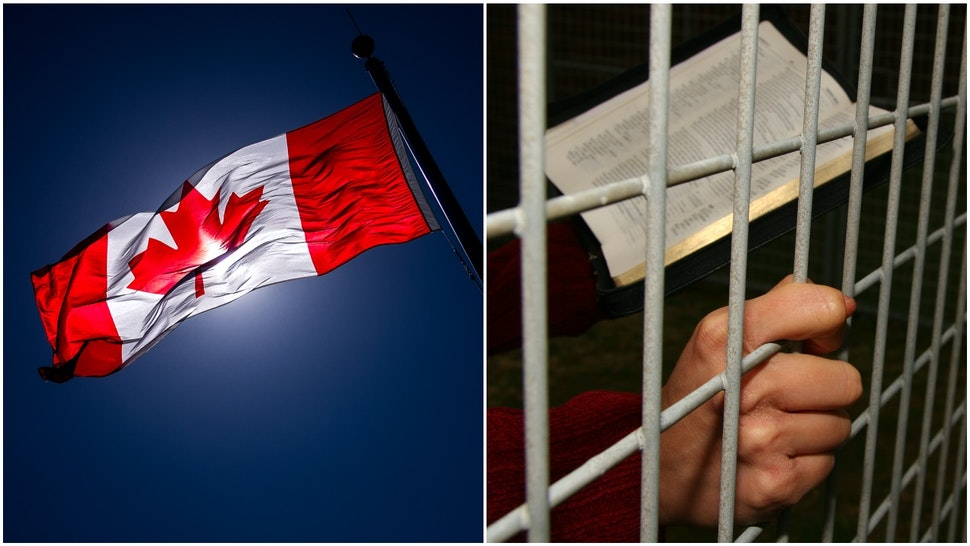 Canada flag and imprisoned Christian