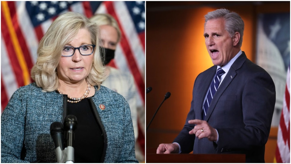 Rep. Liz Cheney (R-WY) and House Minority Leader Kevin McCarthy (D-CA)