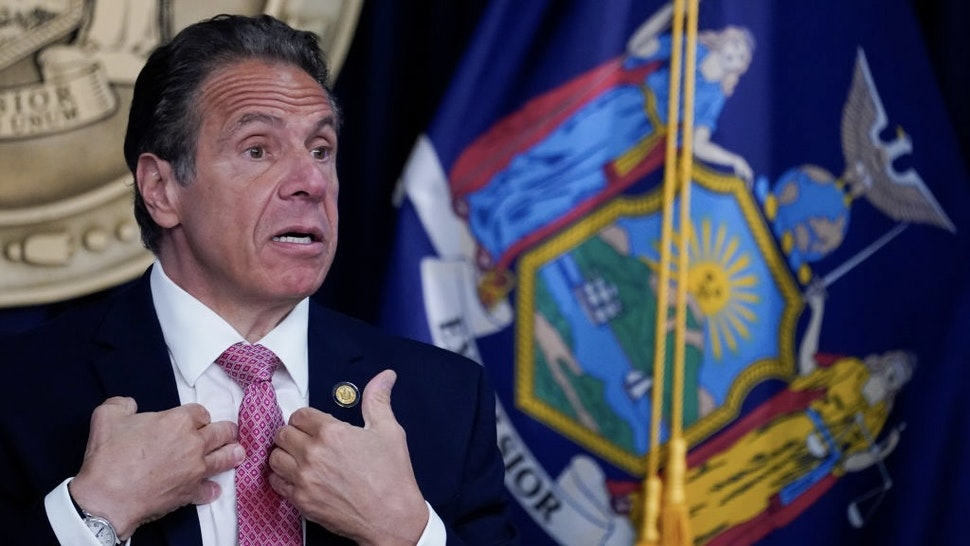 New York Governor Andrew Cuomo Holds Covid Briefing In New York City NEW YORK, NEW YORK - MAY 10: New York Gov. Andrew Cuomo speaks during a news conference on May 10, 2021 in New York City. It was announced that both SUNY and CUNY will require students to get COVID-19 vaccines before the next academic year. (Photo by Mary Altaffer-Pool/Getty Images) Pool / Pool via Getty Images