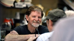 Baker Jack Phillips, owner of Masterpiece Cakeshop, accepting congratulations and thanks in his Lakewood shop after the U.S. Supreme Court voted 7-2 in his favor saying his religious beliefs did not violate Colorado's anti-discrimination law after refusing to make a wedding cake for a same-sex couple. June 4, 2018 Lakewood, Colorado.