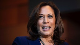 U.S. Sen. Kamala Harris (D-CA) speaks to reporters after announcing her candidacy for President of the United States, at Howard University, her alma mater, on January 21, 2019 in Washington, DC.