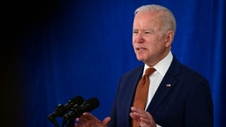 US President Joe Biden speaks about the May jobs report on June 4, 2021, at the Rehoboth Beach, Delaware, Convention Center.
