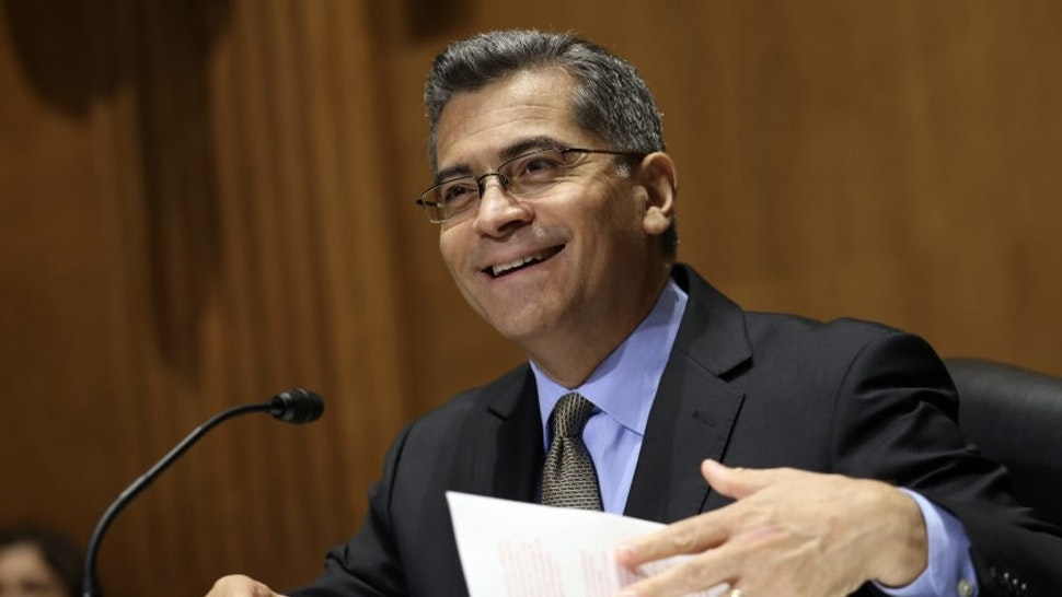HHS Secretary Becerra Testifies Before Senate On Budget Request WASHINGTON, DC - JUNE 10: Health and Human Services (HHS) Secretary Xavier Becerra testifies during a Senate Finance Committee hearing on the FY2022 HHS Budget request on June 10, 2021 in Washington, DC. The HHS budget request is for $131.8 billion in discretionary spending and $1.5 trillion in mandatory spending. (Photo by Kevin Dietsch/Getty Images) Kevin Dietsch / Staff via Getty Images