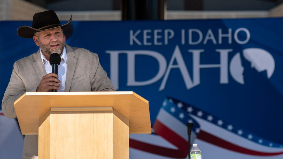 BOISE, ID - JUNE 19: Ammon Bundy announces his candidacy for governor of Idaho during a campaign event on June 19, 2021 in Boise, Idaho. Bundy, best known for his 41 day armed occupation of the Oregon Malhuere Wildlife Refuge in 2016, told the crowd he decided to run for governor while awaiting trial in federal prison. (Photo by Nathan Howard/Getty Images)