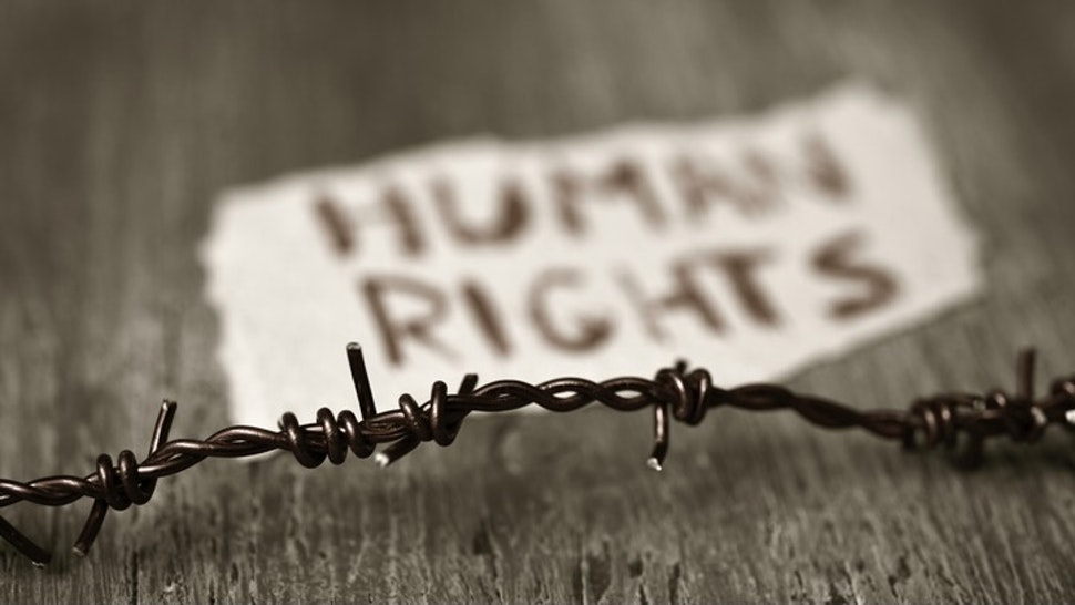 barbed wire and text human rights - stock photo closeup of a barbed wire and a piece of paper with the text human rights handwritten in it on a rustic wooden surface nito100 via Getty Images