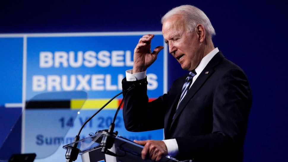 US President Joe Biden speaks during a press conference after the NATO summit at the North Atlantic Treaty Organization (NATO) headquarters in Brussels, on June 14, 2021.