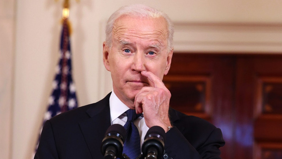 WASHINGTON, DC - MAY 20: U.S. President Joe Biden delivers remarks on the conflict in the Middle East from the White House on May 20, 2021 in Washington, DC. Israel and Hamas announced that they would agree to a cease-fire, which will take into effect on Friday, following days of fighting that claimed more than 200 lives.