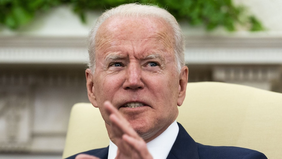 WASHINGTON, DC - JUNE 28: U.S. President Joe Biden meets with Israeli President Reuven Rivlin in the Oval Office June 28, 2021 in Washington, DC. Biden and Rivlin were expected to discuss a range of bilateral issues during their meeting.
