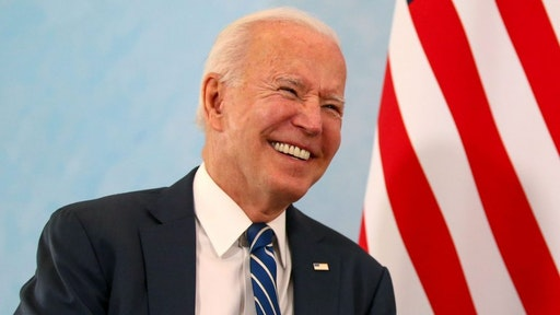 U.S. President Joe Biden, reacts during his bilateral meeting with U.K. Prime Minister Boris Johnson in Carbis Bay, U.K., on Thursday, June 10, 2021. Prime MinisterBoris Johnsonis meetingJoe Bidenfor the first time ahead of the Group of Seven summit that the U.K. is hosting.
