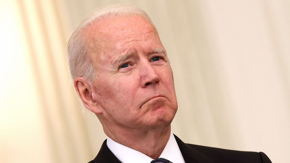 WASHINGTON, DC - JUNE 23: U.S. President Joe Biden looks on as Attorney General Merrick Garland speaks on gun crime prevention measures at the White House on June 23, 2021 in Washington, DC. Biden pledged to aggressively go after illegal gun dealers and to boost federal spending in aid to local law enforcement.