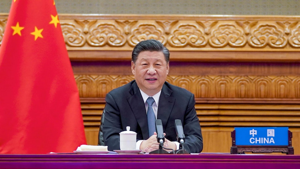 BEIJING, April 16, 2021 -- Chinese President Xi Jinping attends a video summit with French President Emmanuel Macron and German Chancellor Angela Merkel in Beijing, capital of China, April 16, 2021.