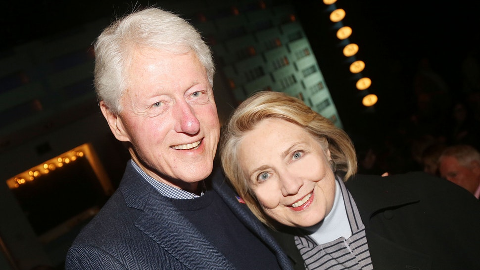 """NEW YORK,NEW YORK - OCTOBER 22: (EXCLUSIVE COVERAGE) 42nd President of the United States Bill Clinton and 67th United States secretary of state Hillary Rodham Clinton pose at the opening night of the new Manhattan Theatre Club play """"Bella Bella"""" at MTC Stage 1 Theatre at City Center on October 22, 2019 in New York City."""