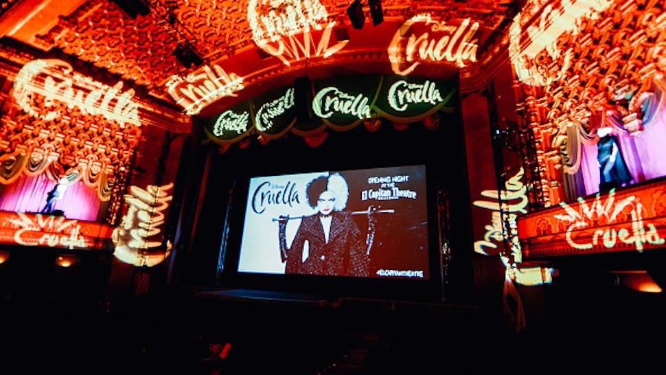 "LOS ANGELES, CALIFORNIA - MAY 27: The El Capitan Theatre Hosts Special Opening Night Fan Event For Disney's ""Cruella"" at El Capitan Theatre on May 27, 2021 in Los Angeles, California."