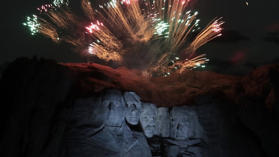President Trump Hosts Independence Day Fireworks At Mount Rushmore KEYSTONE, SOUTH DAKOTA - JULY 03: Fireworks light up the sky above Mount Rushmore National Monument on July 03, 2020 near Keystone, South Dakota. President Donald Trump spoke before the start of the fireworks display, the first at the monument in about a decade. (Photo by Scott Olson/Getty Images) Scott Olson / Staff via Getty Images