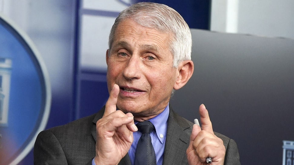 Anthony Fauci, director of the National Institute of Allergy and Infectious Diseases, speaks during a news conference in the James S. Brady Press Briefing Room at the White House in Washington, D.C., U.S., on Tuesday, April 13, 2021. U.S. health officials called for an immediate pause in usingJohnson & Johnson's single-dose Covid-19 vaccine after six women who received it developed a rare and severe form of blood clotting.