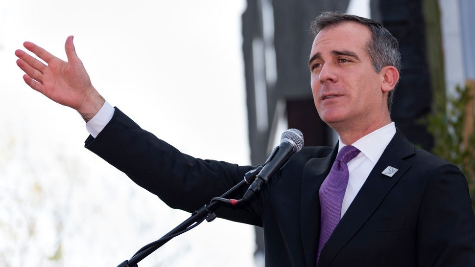 Los Angeles Mayor Eric Garcetti speaks at the Armenian Genocide March for Justice in Los Angeles, California on April 24, 2018.