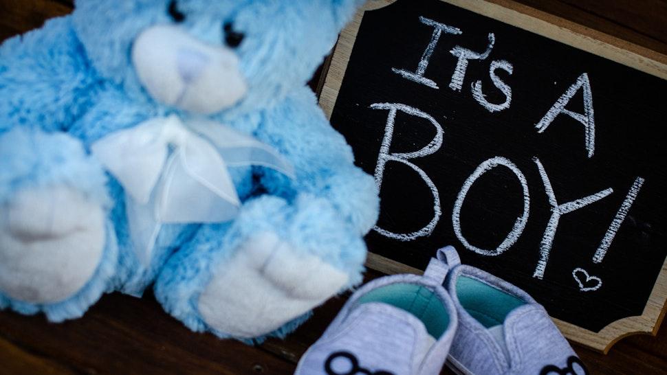 Baby boy gender reveal announcement