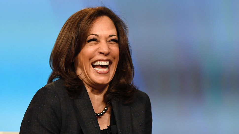 """LAS VEGAS, NEVADA - MARCH 01: U.S. Sen. Kamala Harris (D-CA) laughs while speaking at the """"Conversations that Count"""" event during the Black Enterprise Women of Power Summit at The Mirage Hotel & Casino on March 1, 2019 in Las Vegas, Nevada. Harris is campaigning for the 2020 Democratic nomination for president. (Photo by Ethan Miller/Getty Images)"""