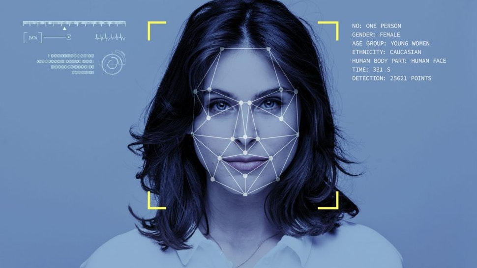 Facial Recognition System, Concept Images. Portrait of young woman.