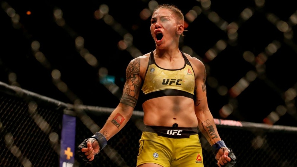 RIO DE JANEIRO, BRAZIL - MAY 11: Jessica Andrade of Brazil celebrates after her knockout victory over Rose Namajunas of USA in their women's strawweight championship bout during the UFC 237 event at Jeunesse Arena on May 11, 2019 in Rio de Janeiro, Brazil.