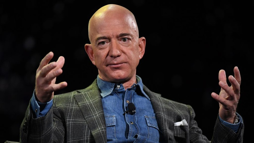 Amazon Founder and CEO Jeff Bezos addresses the audience during a keynote session at the Amazon Re:MARS conference on robotics and artificial intelligence at the Aria Hotel in Las Vegas, Nevada on June 6, 2019. (Photo by Mark RALSTON / AFP) (Photo by MARK RALSTON/AFP via Getty Images)