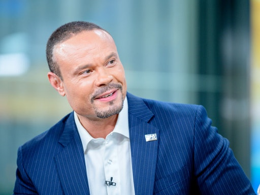 """NEW YORK, NEW YORK - JUNE 18: Host Dan Bongino as US Open winner Gary Woodland visits """"FOX & Friends"""" at Fox News Channel Studios on June 18, 2019 in New York City. (Photo by Roy Rochlin/Getty Images)"""