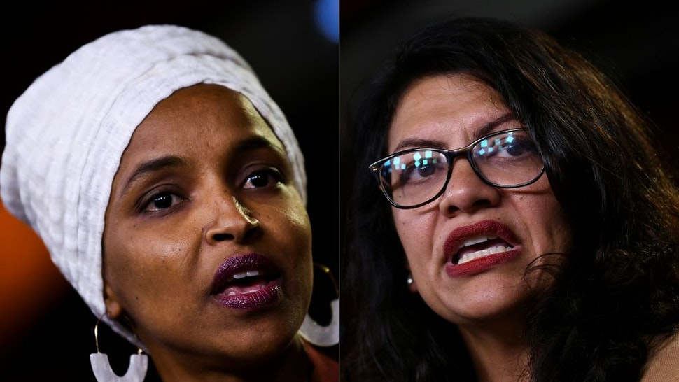 """(COMBO) This combination of pictures created on August 15, 2019 shows Democrat US Representatives Ilhan Abdullahi Omar (L) and Rashida Tlaib during a press conference, to address remarks made by US President Donald Trump earlier in the day, at the US Capitol in Washington, DC on July 15, 2019. - Influential US pro-Israel lobby AIPAC on August 15, 2019 opposed Prime Minister Benjamin Netanyahu's decision to bar two Muslim American members of Congress from visiting the Jewish state.""""We disagree with Reps. Omar and Tlaib's support for the anti-Israel and anti-peace BDS movement, along with Rep. Tlaib's calls for a one-state solution,"""" the American Israel Public Affairs Committee tweeted, referring to House Democrats Ilhan Omar and Rashida Tlaib, who support a boycott of Israel."""