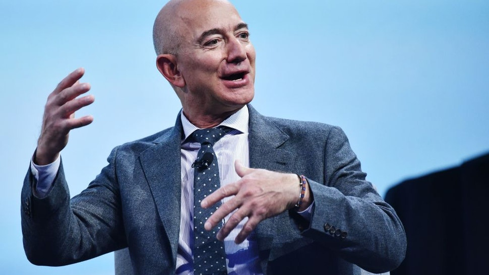 Blue Origin founder Jeff Bezos speaks after receiving the 2019 International Astronautical Federation (IAF) Excellence in Industry Award during the the 70th International Astronautical Congress at the Walter E. Washington Convention Center in Washington, DC on October 22, 2019.