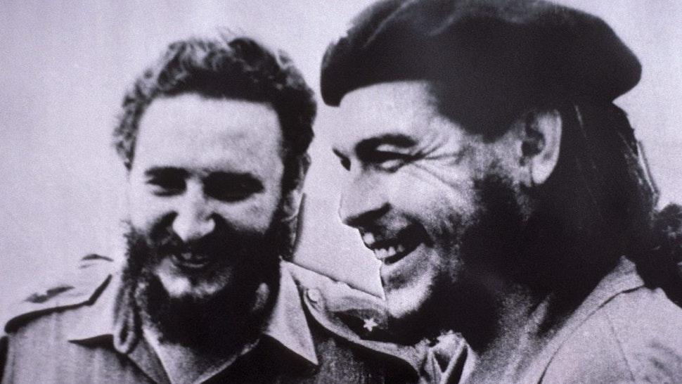 CUBA - CIRCA 1900: Portrait of Fidel Castro and Ernesto Che Guevara in Havana, Cuba - Museum of Revolution, photo of Fidel Castro and Che Guevara, taken in 1958 after the liberation of Cuba.