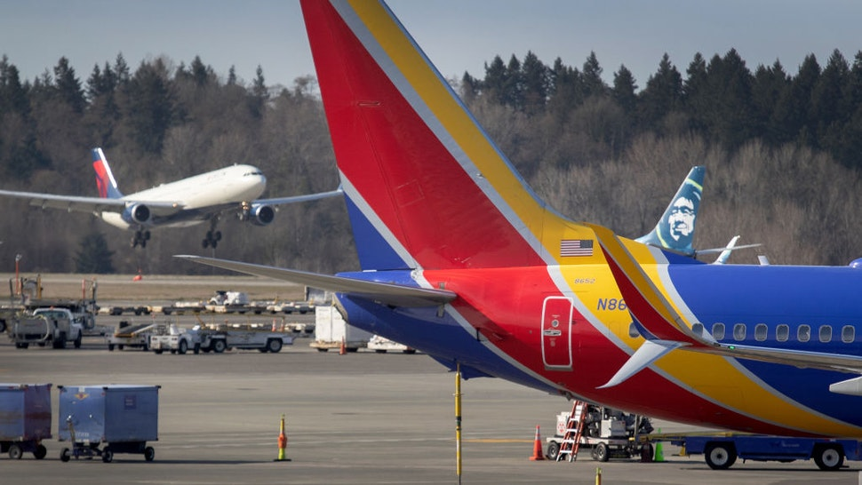 A flight lands at the Seattle-Tacoma International Airport on March 15, 2020 in Seattle, Washington.