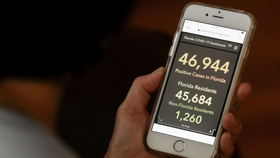 In this photo illustration the Florida's COVID-19 Data and Surveillance Dashboard is seen displayed on a smartphone.