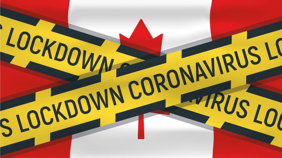 Canada flag icon and logo, coronovirus lockdown, covid 19, world epidemic, pandemic. National flag banner and template.