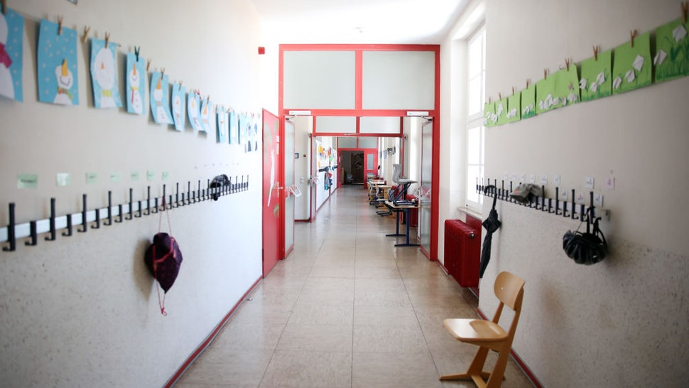 HEPPENHEIM, GERMANY - APRIL 15: A general view of an empty corridor at the temporarily-closed Schloss-Schule elementary school during the coronavirus crisis on April 15, 2020 in Heppenheim, Germany. Germany is debating reopening schools as part of a first step of measures meant to ease the restrictions imposed weeks ago to slow the spread of the novel coronavirus. While the number of new infections is still rising, the rate has slowed enough that leaders are seeking to create and implement a roadmap for unshackling the economy. (Photo by Alex Grimm/Getty Images)