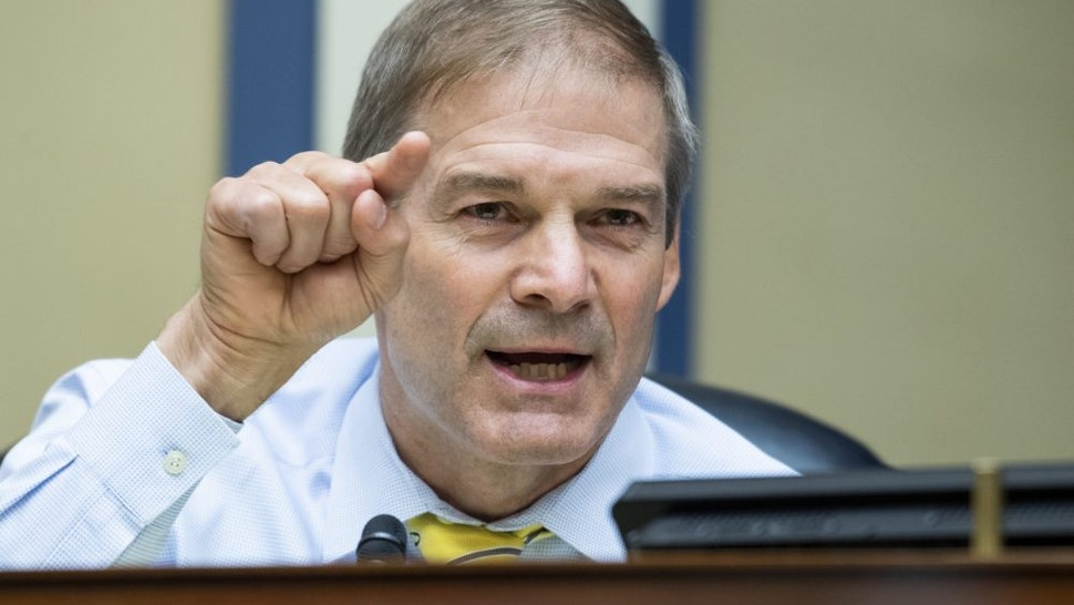 """WASHINGTON, DC - AUGUST 24: Representative Jim Jordan, (R-OH), questions U.S. Postal Service Postmaster General Louis DeJoy during a hearing before the House Oversight and Reform Committee on August 24, 2020 on Capitol Hill in Washington, DC. The committee is holding a hearing on """"Protecting the Timely Delivery of Mail, Medicine, and Mail-in Ballots."""""""