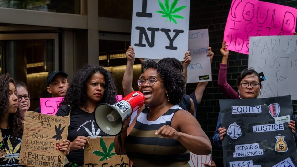 NEW YORK GOVERNOR'S OFFICE IN MANHATTAND, NEW YORK, UNITED STATES - 2019/06/16: Kassandra Frederique is New York State Director at the Drug Policy Alliance (DPA) - Marijauna rally outside New York Governor's office in Manhattan calling on Governor Andrew Cuomo, Senate Majority Leader Andrea Stewart-Cousins, and Assembly Speaker Carl Heastie to enact the Marijuana Regulation and Taxation Act (S.1527B/A.1617B), known as the MRTA.