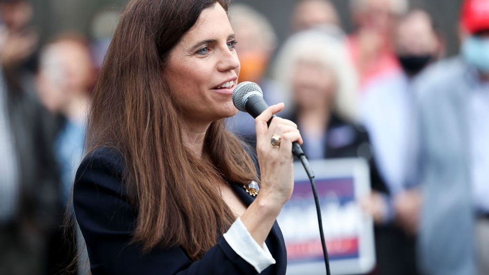 CHARLESTON, SC - OCTOBER 31: Republican congressional candidate Nancy Mace speaks to the crowd at an event with Sen. Lindsey Graham at the Charleston County Victory Office during Grahams campaign bus tour on October 31, 2020 in Charleston, South Carolina. Graham is in a closely watched race against democratic challenger Jaime Harrison. (Photo by Michael Ciaglo/Getty Images)