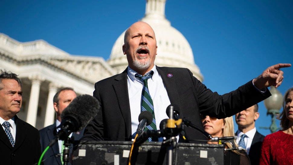 UNITED STATES - FEBRUARY 25 (FILE): Rep. Chip Roy, R-Texas, and members of the House Freedom Caucus conduct a news conference outside the Capitol to oppose the Equality Act, which prohibits discrimination on the basis of sex, gender identity, and sexual orientation, on Thursday February 25, 2021.
